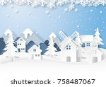 urban countryside on snow and... | Shutterstock .eps vector #758487067