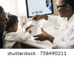 young patient is getting a... | Shutterstock . vector #758490211