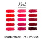 set of various lipstick smears. ... | Shutterstock .eps vector #758493955