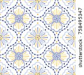 traditional portugal azulejos... | Shutterstock .eps vector #758495347