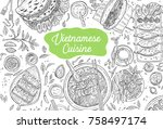 hand drawn top view traditional ... | Shutterstock .eps vector #758497174