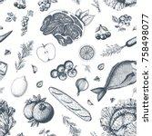 healthy food seamless pattern....   Shutterstock .eps vector #758498077