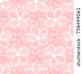 outlines of cute flowers on... | Shutterstock .eps vector #758499061