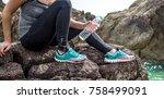 the girl in sportswear on the...   Shutterstock . vector #758499091