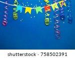 beautiful festive blue...   Shutterstock . vector #758502391