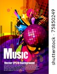Colorful Musical Theme Vector...