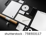 photo of blank stationery set... | Shutterstock . vector #758503117