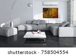 modern bright room with air... | Shutterstock . vector #758504554