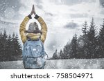 girl praying for the snow and... | Shutterstock . vector #758504971