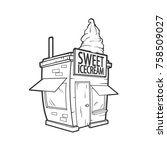 vector cute ice cream shop in... | Shutterstock .eps vector #758509027