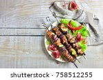 Meat Shish Kebab On A Plate...