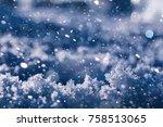 texture of ice in winter....   Shutterstock . vector #758513065