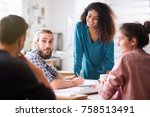 meeting at the office of a... | Shutterstock . vector #758513491