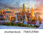 grand palace and wat phra keaw... | Shutterstock . vector #758515984