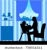 mom nourishes the baby boy... | Shutterstock .eps vector #758516311