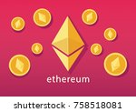 ethereum cryptocurrency concept.... | Shutterstock .eps vector #758518081