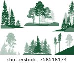 illustration with fir trees set ... | Shutterstock .eps vector #758518174