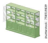 shelving with open and closed... | Shutterstock .eps vector #758519839