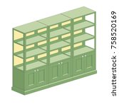 shelving with open and closed... | Shutterstock .eps vector #758520169