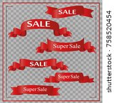realistic red paper banners set.... | Shutterstock .eps vector #758520454