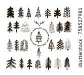 set of hand drawn christmas... | Shutterstock .eps vector #758527981