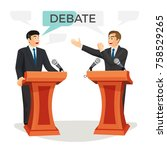 debate poster with two... | Shutterstock .eps vector #758529265
