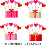 pink gift boxes and hearts | Shutterstock .eps vector #758534185