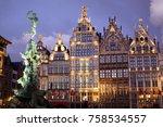 grote markt square in antwerpen ... | Shutterstock . vector #758534557