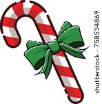 mbe style candy cane ribbon... | Shutterstock .eps vector #758534869