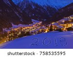 2018 on snow at mountains  ... | Shutterstock . vector #758535595