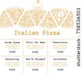 pizza food menu for restaurant... | Shutterstock .eps vector #758536501