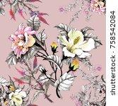 watercolor seamless pattern... | Shutterstock . vector #758542084