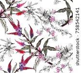 watercolor seamless pattern... | Shutterstock . vector #758542141
