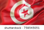 flag  tunisia. waiving flag of...   Shutterstock . vector #758545051