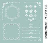 vintage set of vector white... | Shutterstock .eps vector #758545411