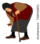 homeless beggar on a street... | Shutterstock .eps vector #758546851