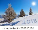 2018 on snow at mountains   st. ... | Shutterstock . vector #758551555