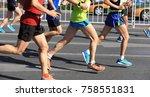 marathon runners legs running... | Shutterstock . vector #758551831