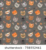 seamless pattern with cats | Shutterstock .eps vector #758552461