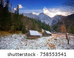 mount giewont in tatra... | Shutterstock . vector #758553541