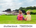 happy kids at walk. brother and ... | Shutterstock . vector #758555434