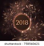 holiday fireworks vector...   Shutterstock .eps vector #758560621