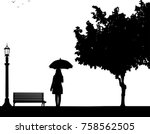 young woman walking under the... | Shutterstock .eps vector #758562505