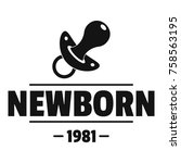 newborn pacifier logo. simple... | Shutterstock .eps vector #758563195