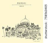 chhatrapati shivaji maharaj... | Shutterstock .eps vector #758563405