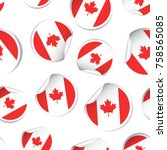 canada flag sticker seamless...   Shutterstock .eps vector #758565085