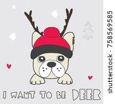 cute french bulldog puppy  cute ... | Shutterstock .eps vector #758569585