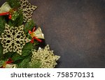 christmas tree and decorative... | Shutterstock . vector #758570131
