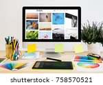 stationery desktop with design ... | Shutterstock . vector #758570521