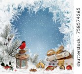 christmas greeting background... | Shutterstock . vector #758574265